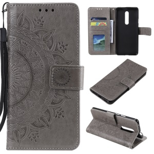 Imprint Flower Leather Wallet Case for OnePlus 7 Pro - Grey