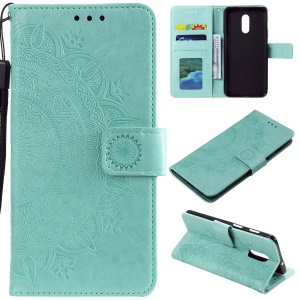 Imprint Flower Leather Wallet Case for OnePlus 7 - Cyan