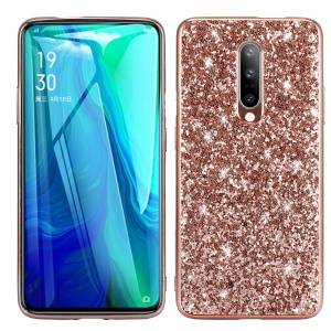 Glittering Sequins Electroplating TPU Frame+PC Phone Protective Cover for OnePlus 7 Pro - Rose Gold