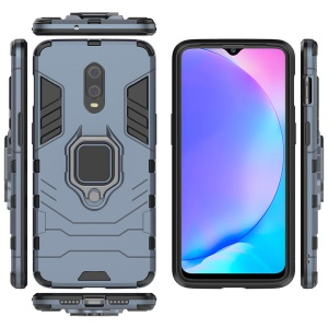 Cool Armor Guard Style Ring Holder Kickstand PC TPU Hybrid Phone Case for OnePlus 7 - Blue