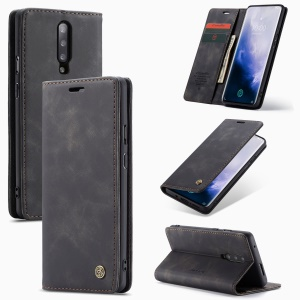 CASEME 013 Series for OnePlus 7 Pro Auto-absorbed Wallet Stand PU Leather Phone Cover - Black