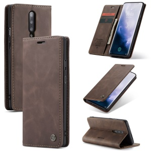 CASEME 013 Series for OnePlus 7 Pro Auto-absorbed Wallet Stand PU Leather Phone Cover - Coffee