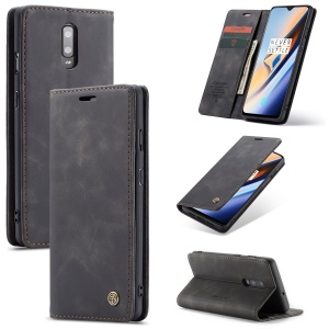 CASEME 013 Series Auto-absorbed Leather Flip Wallet Case for OnePlus 7 - Black