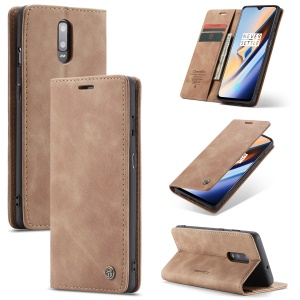 CASEME 013 Series Auto-absorbed Leather Flip Wallet Case for OnePlus 7 - Brown