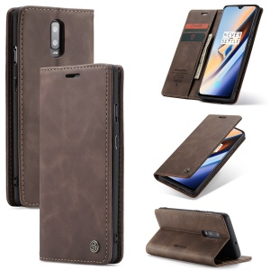 CASEME 013 Series Auto-absorbed Leather Flip Wallet Case for OnePlus 7 - Coffee