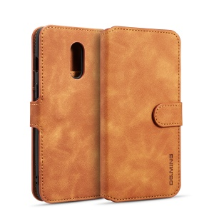 DG.MING Retro Style Leather Wallet Stand Case for OnePlus 7 - Brown