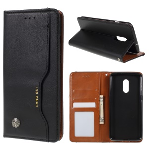 Auto-absorbed Wallet Leather Stand Phone Cover for OnePlus 7 - Black