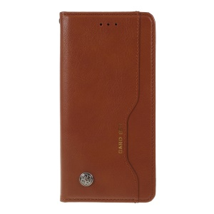 Auto-absorbed Wallet Leather Stand Phone Cover for OnePlus 7 - Brown