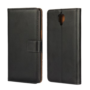 Split Leather Wallet Stand Case Cover for OnePlus 3T / 3 - Black