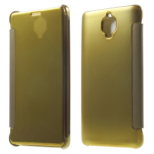 Plating Mirror Surface PC Leather Case for OnePlus 3 / 3T - Gold