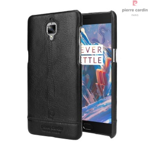 PIERRE CARDIN for OnePlus 3 / 3T Genuine Leather Coated Hard Mobile Case - Black