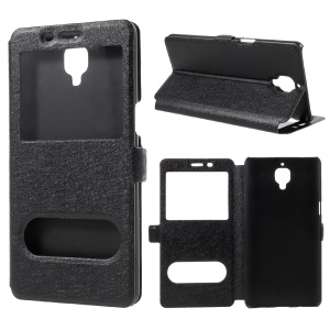 Silk Texture Dual Window Leather Case for OnePlus 3 / 3T - Black