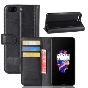 Genuine Split Leather Wallet Phone Shell with Stand for OnePlus 5 - Black