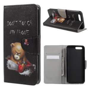 Patterned PU Leather Wallet Stand Protective Phone Shell for OnePlus 5 - Bear with Electric Saw