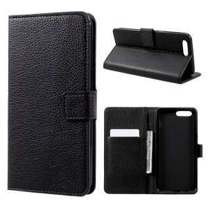 Litchi Texture Leather Folio Flip Wallet Case para OnePlus 5 - negro