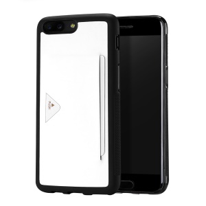 DUX DUCIS Pocard Series Card Slot PU Leather Skin TPU Back Case for OnePlus 5 - White