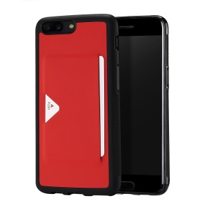 DUX DUCIS Pocard Series Card Slot PU Leather Skin TPU Back Casing for OnePlus 5 - Red