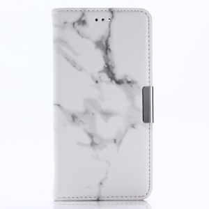 For OnePlus 5 Marble Pattern Stand Wallet Leather Mobile Phone Casing - White
