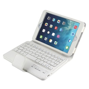 Removeable Bluetooth Keyboard Leather Case for iPad Mini 1 / 2 / 3 - White