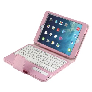 Removeable Bluetooth Keyboard Leather Case for iPad Mini 1 / 2 / 3 - Pink