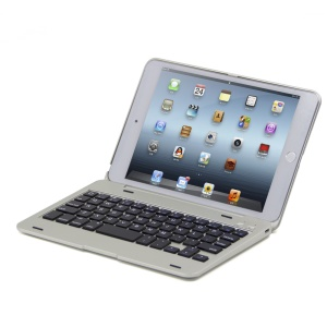 Aluminum Alloy Bluetooth Keyboard Flip Cover for iPad mini 4 - Silver