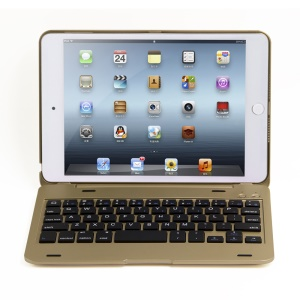 Aluminum Alloy Bluetooth Keyboard Flip Stand Cover for iPad mini 4 - Gold