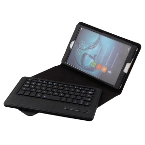 Detachable Leather Bluetooth Keyboard Cover Case with Stand for Huawei MediaPad M3 8.4 - Black