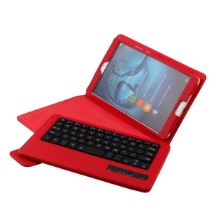 For Huawei MediaPad M3 8.4 Detachable Leather Bluetooth Keyboard Casing with Stand - Red