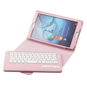 Detachable Leather Bluetooth Keyboard Shell with Stand for Huawei MediaPad M3 8.4 - Pink