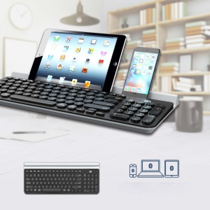 FORTER IK6650 Drahtlose Bluetooth Tri-kanal Silent Waterpooof Tastatur Für Ios, Android, Windows Etc. - Schwarz