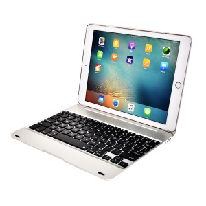 F19B Bluetooth 3.0 Keyboard ABS Flip Protective Cover for iPad 9.7(2017)/Pro 9.7(2016)/Air/Air 2 - Silver