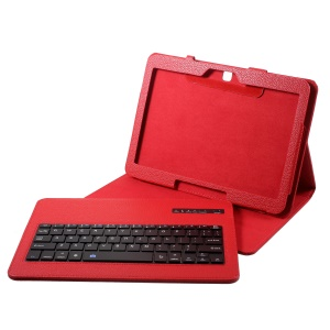 Removable Bluetooth Keyboard Leather Stand Protection Tablet Cover for Samsung Galaxy Tab 4 10.1 T530 - Red