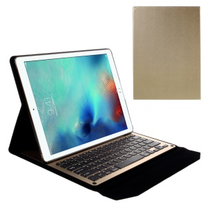 Slim Leather Cover Shell with Built-in Bluetooth Keyboard for iPad Pro 12.9 inch - Gold