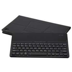 Black - Slim Leather Stand Case with Detachable Tempered Glass Mirror Bluetooth Keyboard for Huawei MediaPad M5 10/M5 10 (Pro)