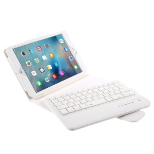 Detachable Bluetooth Keyboard Leather Cover for iPad Mini 4/3/2 - White