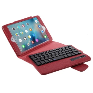 Detachable Bluetooth Keyboard Leather Shell for iPad Mini 4/3/2 - Red