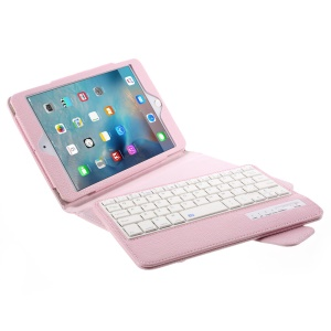 Detachable Bluetooth Keyboard Leather Cover for iPad Mini 4/3/2 - Pink