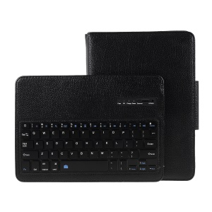 Detachable Bluetooth Keyboard Litchi Texture Leather Case for iPad Air 2 - Black