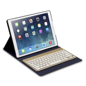 F16s+ Detachable Wireless Bluetooth Keyboard Leather Case for iPad Pro 12.9 inch - Black