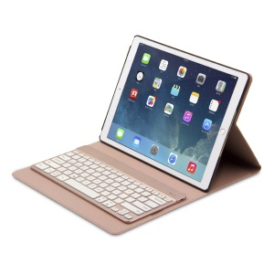 F16s+ Detachable Wireless Bluetooth Keyboard Leather Case Cover for iPad Pro 12.9 inch - Pink