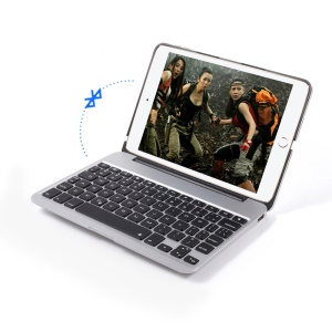 Seven Colors Backlighting Metal Skin Bluetooth Keyboard with Power Bank for iPad mini 4 - Silver