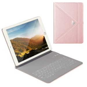 OATSBASF 4mm Ultrathin Bluetooth Keyboard Leather Stand Cover for iPad Air 2 / Air - Rose Gold