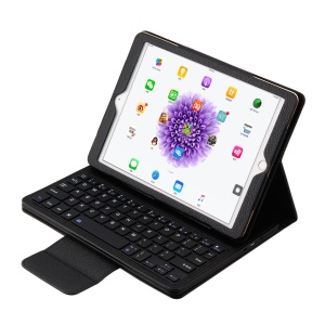 Removível teclado Bluetooth Lychee Leather Stand Case para iPad Pro 9,7 polegadas - Preto