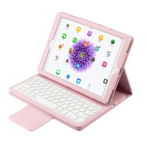 For iPad Pro 9.7 Removable Bluetooth Keyboard Lychee Leather Cover Stand - Pink