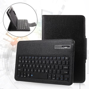Bluetooth Keyboard Litchi Leather Stand Case for Samsung Galaxy Tab A 10.1 (2016) - Black