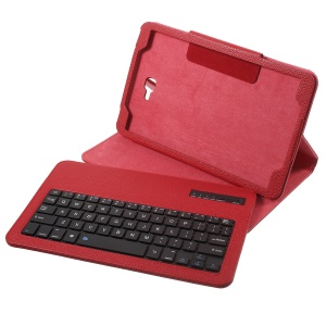 Bluetooth Keyboard Litchi Leather Stand Cover for Samsung Galaxy Tab A 10.1 (2016) - Red