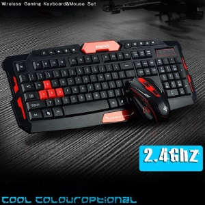 Wireless Gaming Keyboard + Mouse Combo Set - Black / Red