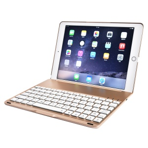 F8SPro Bluetooth Keyboard Cover with 7-Color LED Backlight for iPad Pro 9.7/Air 2 - Gold Color