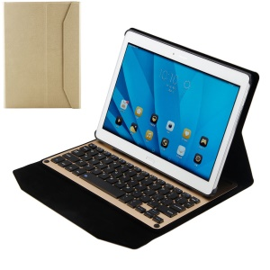 Wireless Bluetooth Keyboard Leather Stand Cover for Huawei MediaPad M2 10.0 - Gold