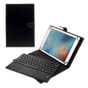 TH10-A Detachable Bluetooth Wireless Touchpad Keyboard Stand Leather Cover for 9-10.1 inch Tablet - Black